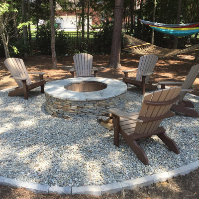 Adirondack chairs and firepit